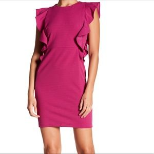 Donna Morgan cascading ruffle sheath dress